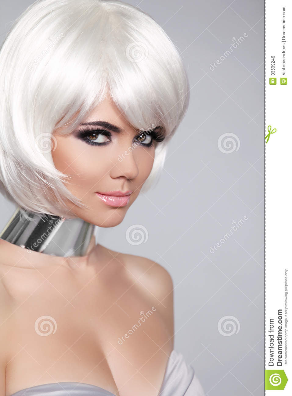 Fashion Beauty Portrait Woman White Short Hair Beautiful Girl Royalty Free Stock Image