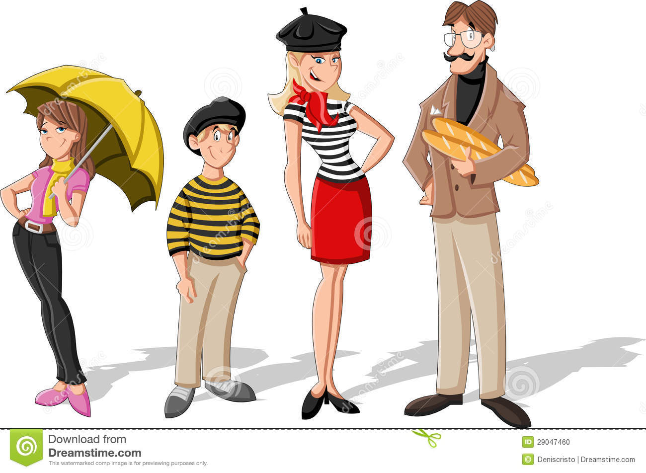 Fashion French Cartoon Family Stock Photo
