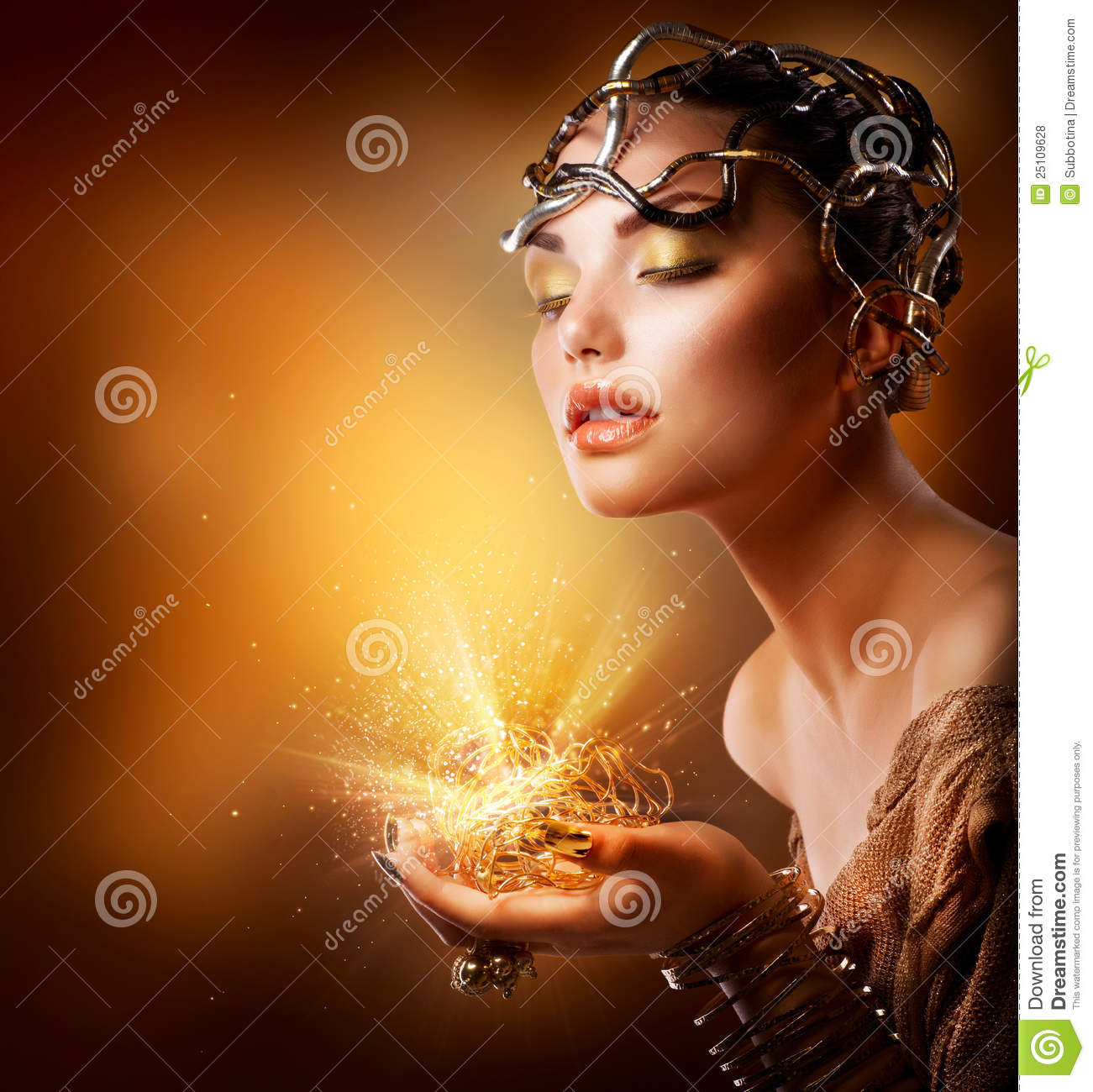 Fashion Girl Portrait Gold Makeup Stock Photo  Image of