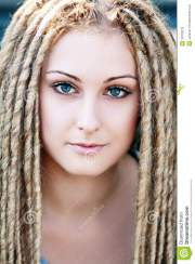 fashion hairstyle with dreads stock