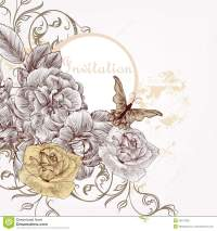 Fashion Invitation Background With Hand Drawn Roses Stock ...