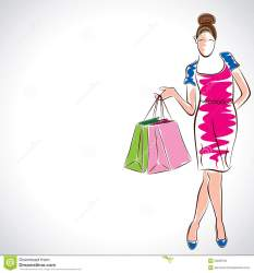 lady shopping vector royalty dreamstime