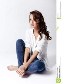 Fashion Model In Blouse And Jeans Barefoot Stock
