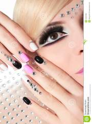 fashion nails and makeup with rhinestones