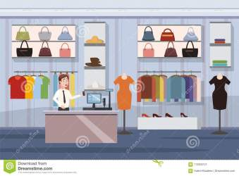 shopping cartoon mall clothes banner super interior market female copy space illustration vector preview