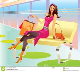 shopping mall relax bag vector illustration clothes clipart woman york dreamstime cutcaster