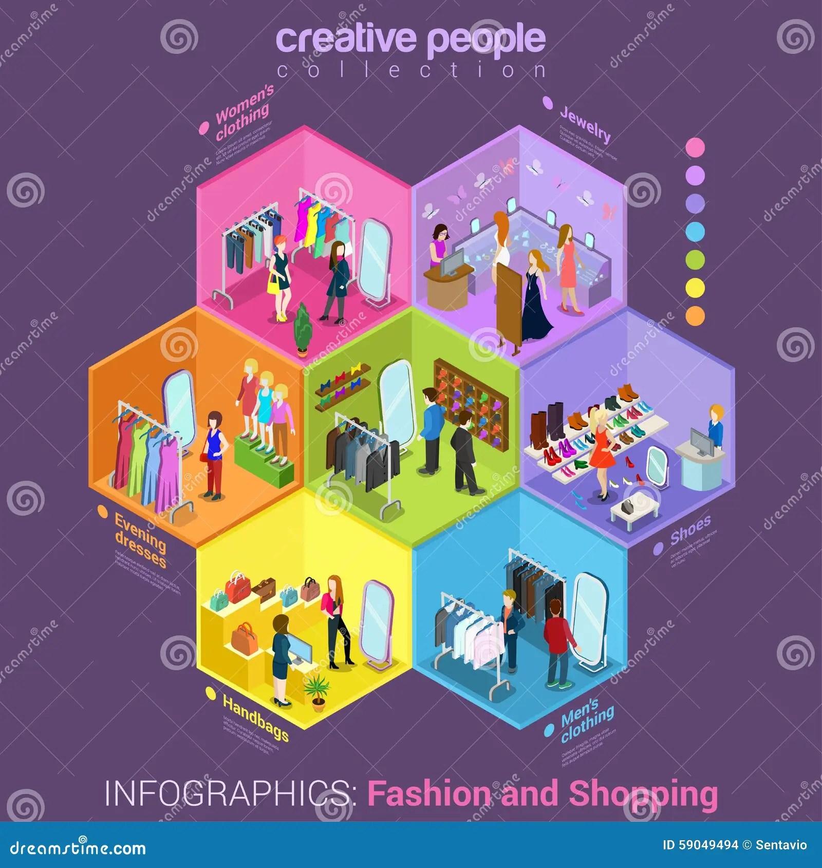 Fashion Shopping Mall Interior Flat Vector Concept Stock