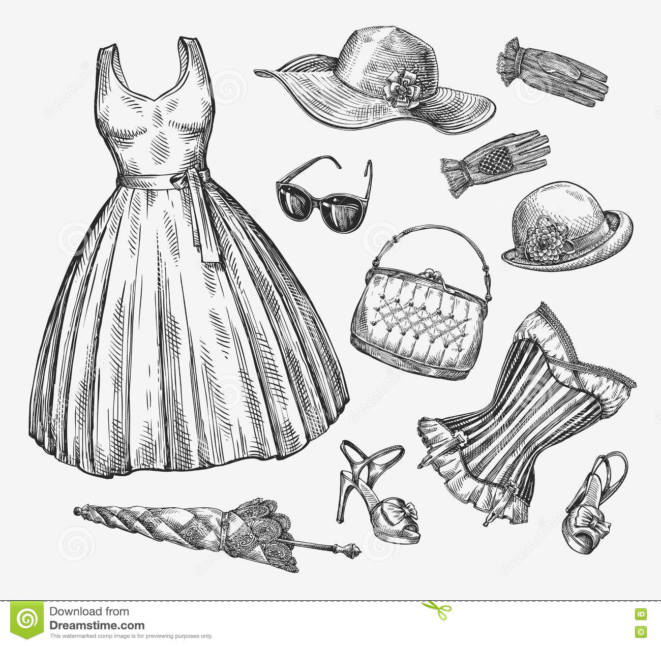 Fashion Vector Collection Of Women Clothing Hand Drawn