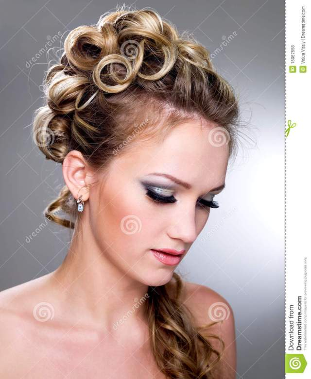 fashion wedding hairstyle stock photo. image of make - 15057558