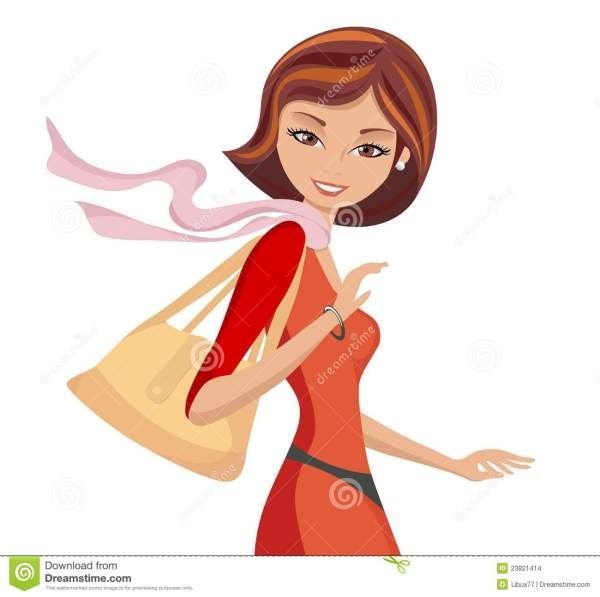 Fashionable Girl With Handbag Walking Stock Vector