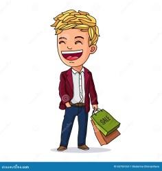 shopping boy kid bags vector fashionable bag smile