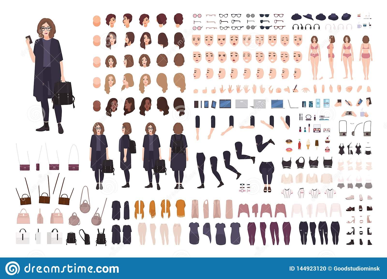 Fashionable Teenage Girl Avatar Constructor Kit Set Of