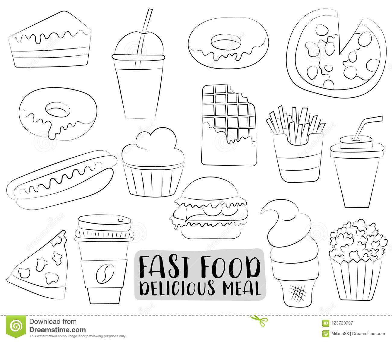 Fast Food Cartoon Icons And Objects Set. Black And White