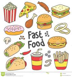 fast food illustration drawn cartoon drawing foods vector background hand doodle collection