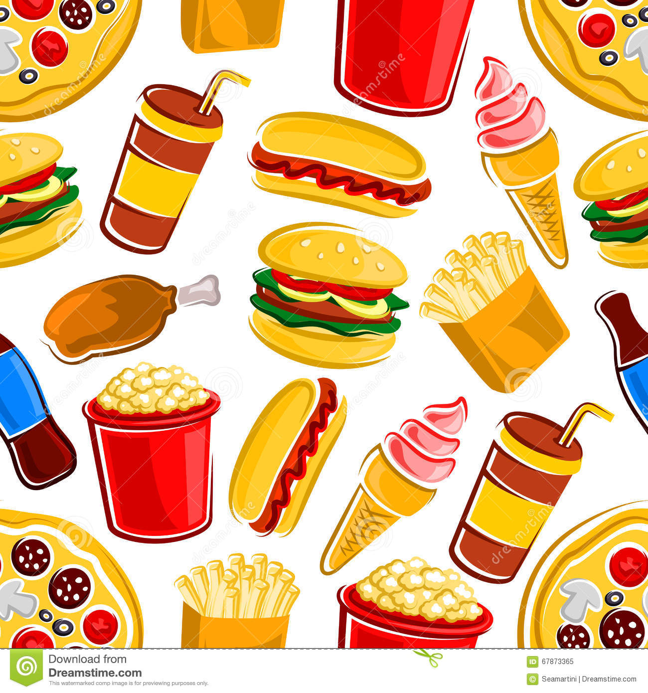 Fast Food Drinks And Dessert Pattern Stock Vector  Image 67873365