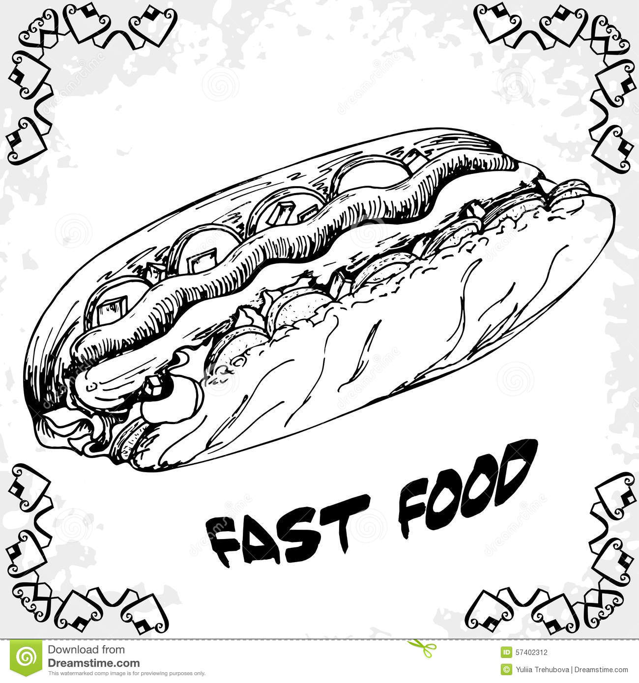Fast Food Poster With Hot Dog. Hand Draw Retro