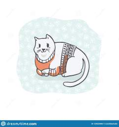 fat christmas cat in embroidery sweater clipart hand drawn cat lover [ 1600 x 1690 Pixel ]
