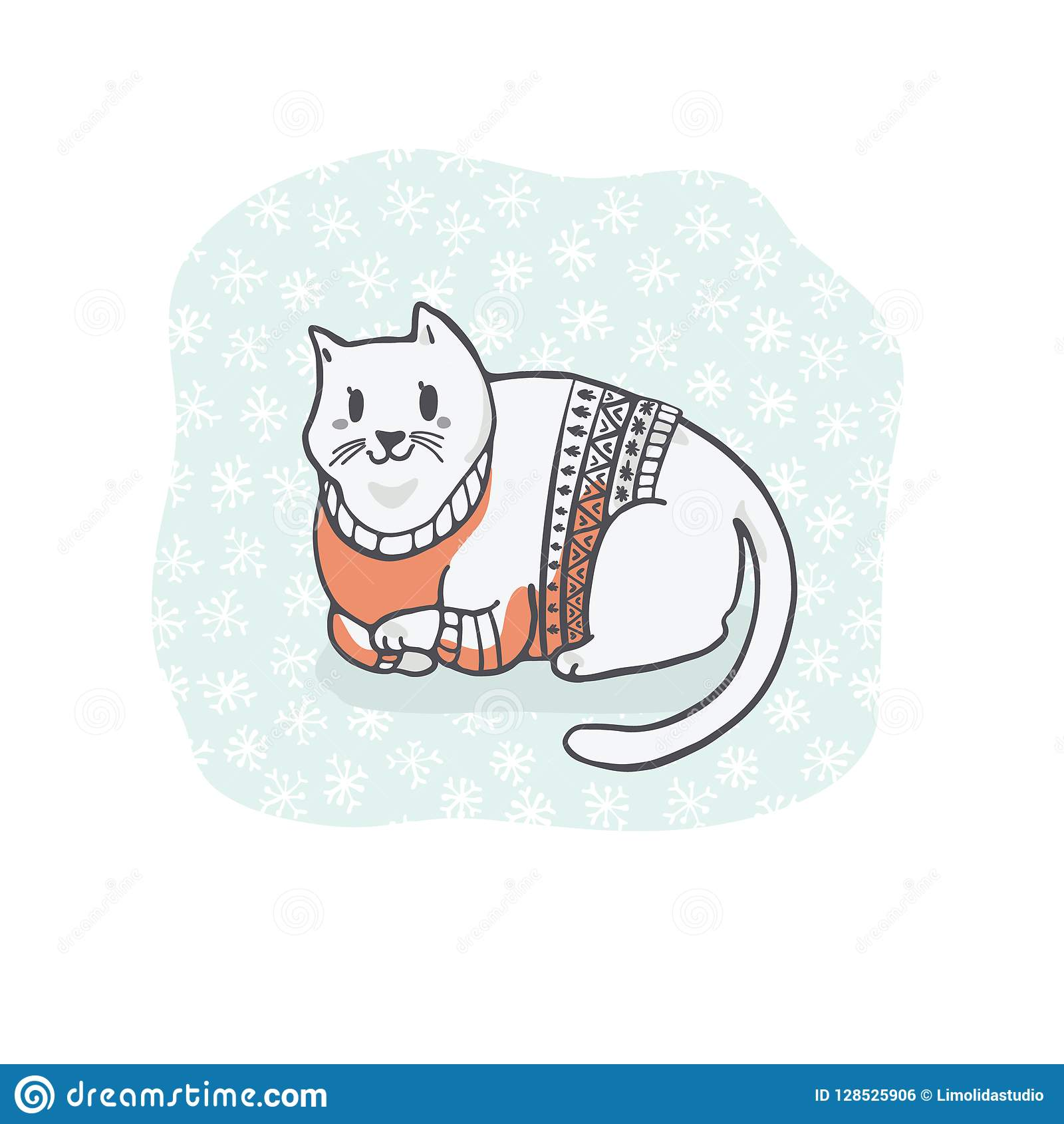 hight resolution of fat christmas cat in embroidery sweater clipart hand drawn cat lover