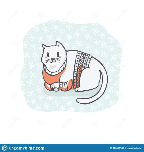 small resolution of fat christmas cat in embroidery sweater clipart hand drawn cat lover