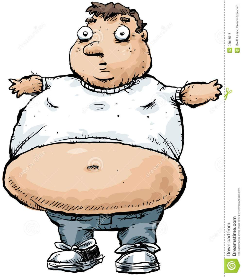 medium resolution of cartoon illustration of fat or obese man with bare belly or stomach isolated on white background