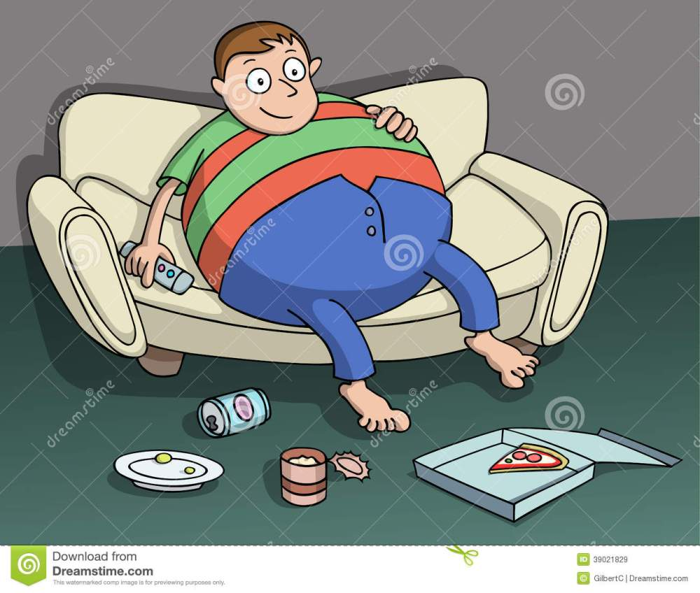 medium resolution of very overweight man sitting on the couch holding a remote in hand beer pizza and other food over the floor couch potato cartoon vector illustration