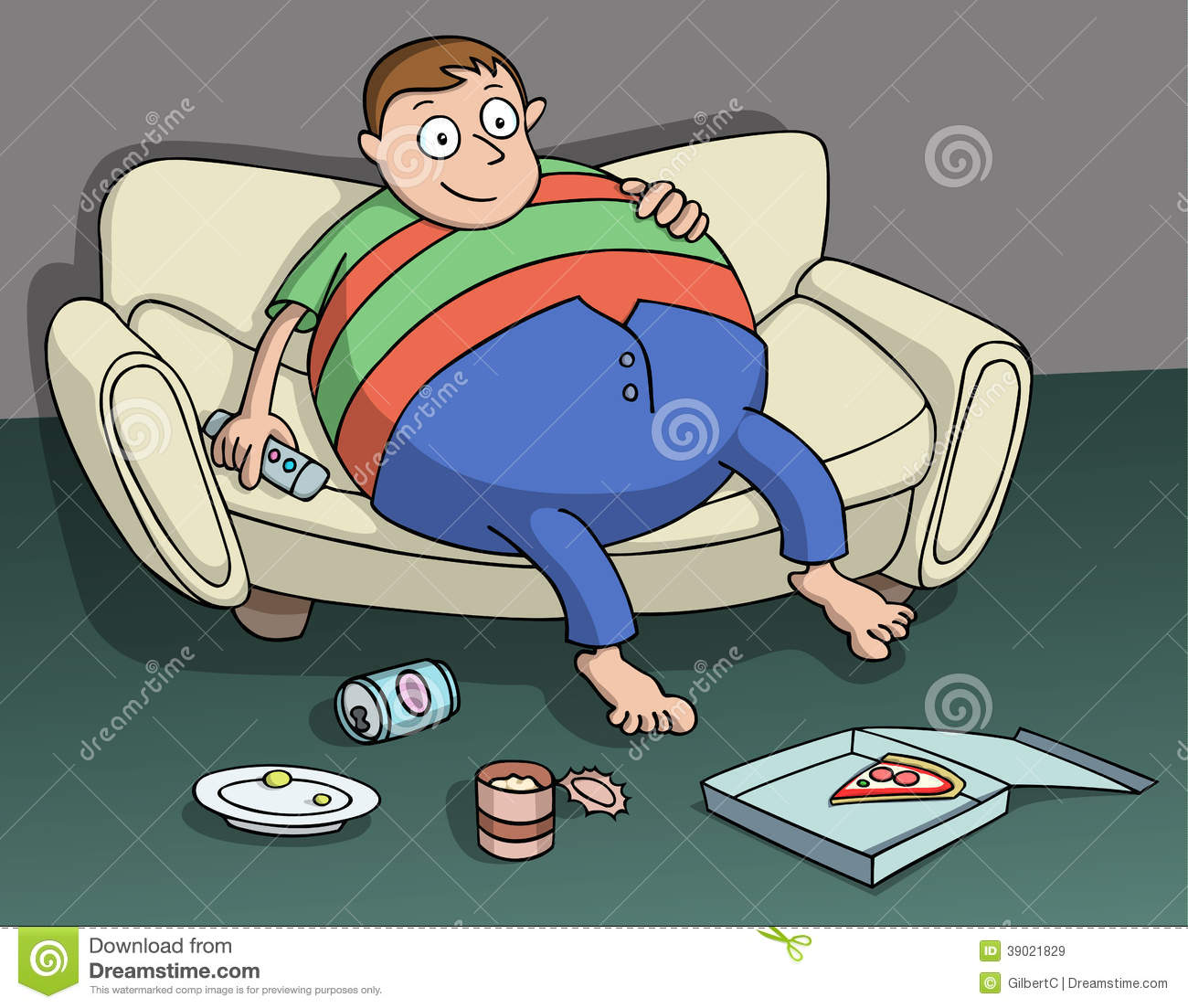 hight resolution of very overweight man sitting on the couch holding a remote in hand beer pizza and other food over the floor couch potato cartoon vector illustration