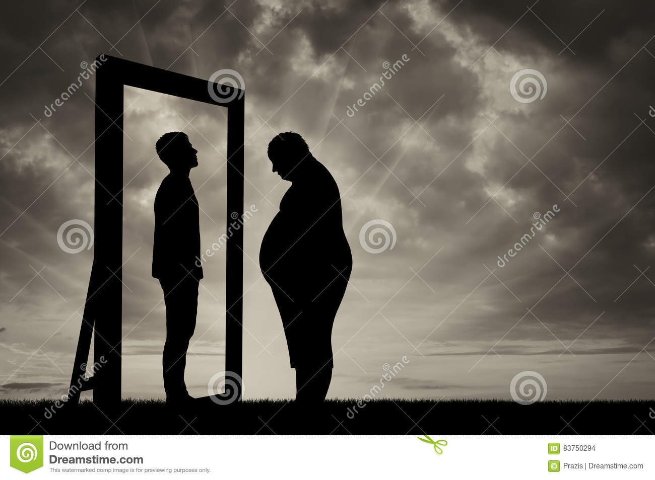 Fat Sad Man And His Reflection In Mirror Of A Normal Man Stock Illustration