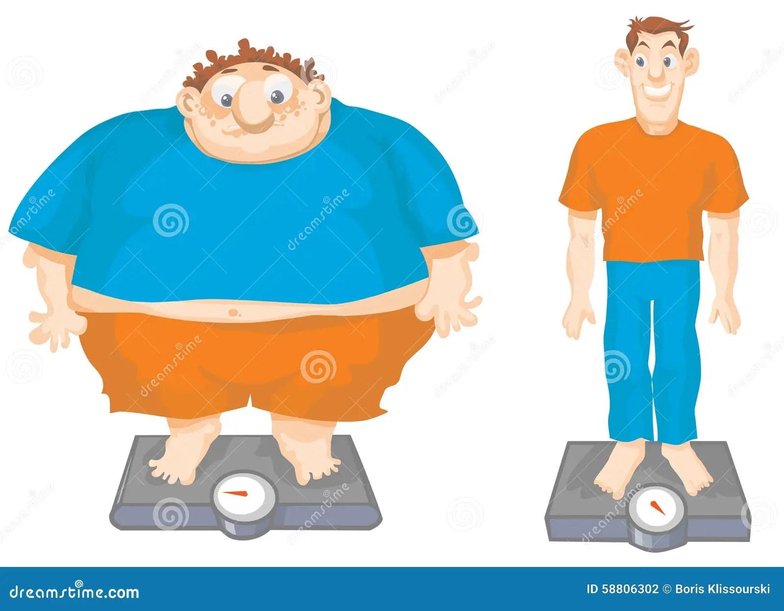 Fat And Slim Cartoon Men Stock Vector Illustration Of