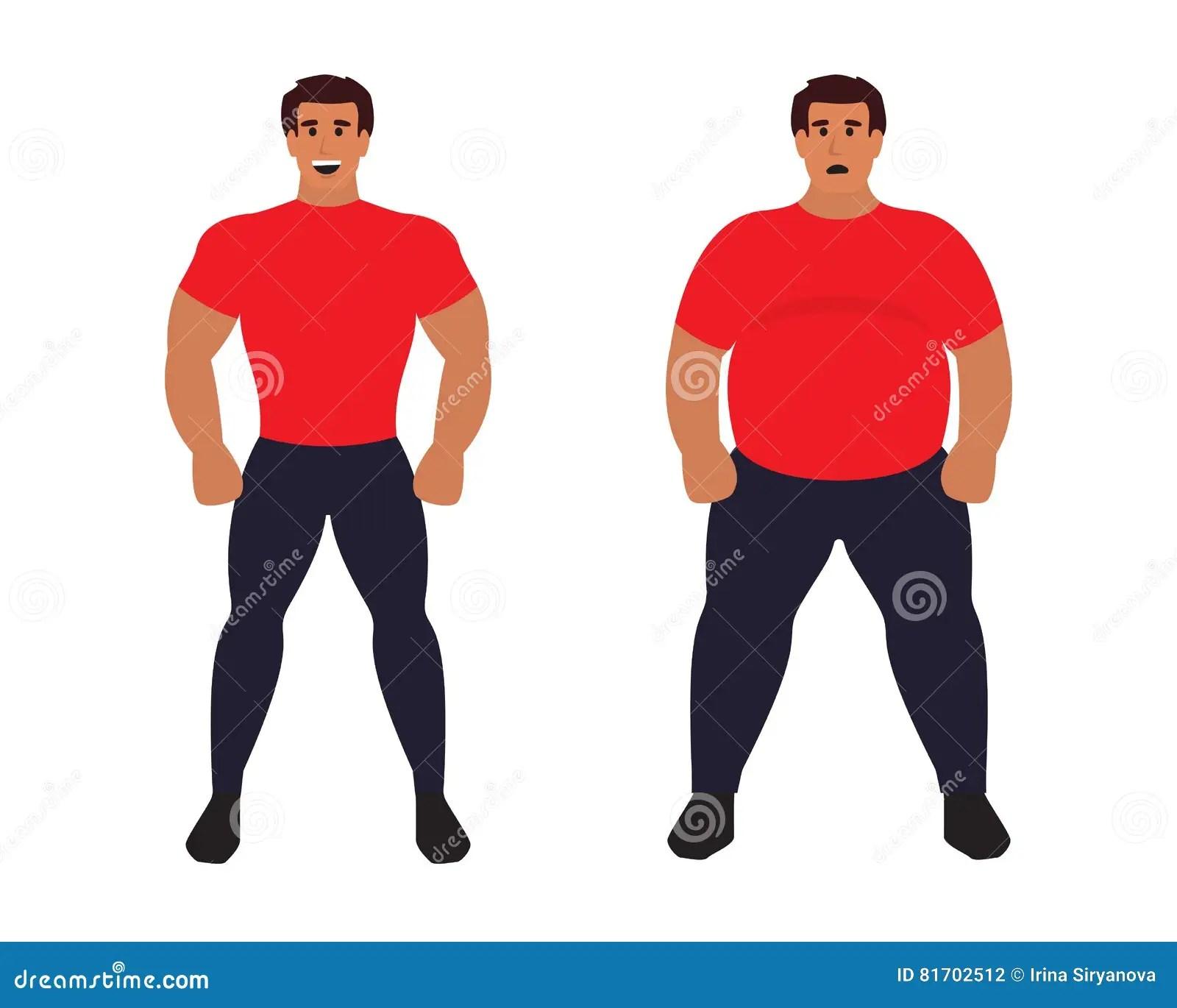 Fat Vs Slim Man Healthy Sport Athletic Body Comparing To