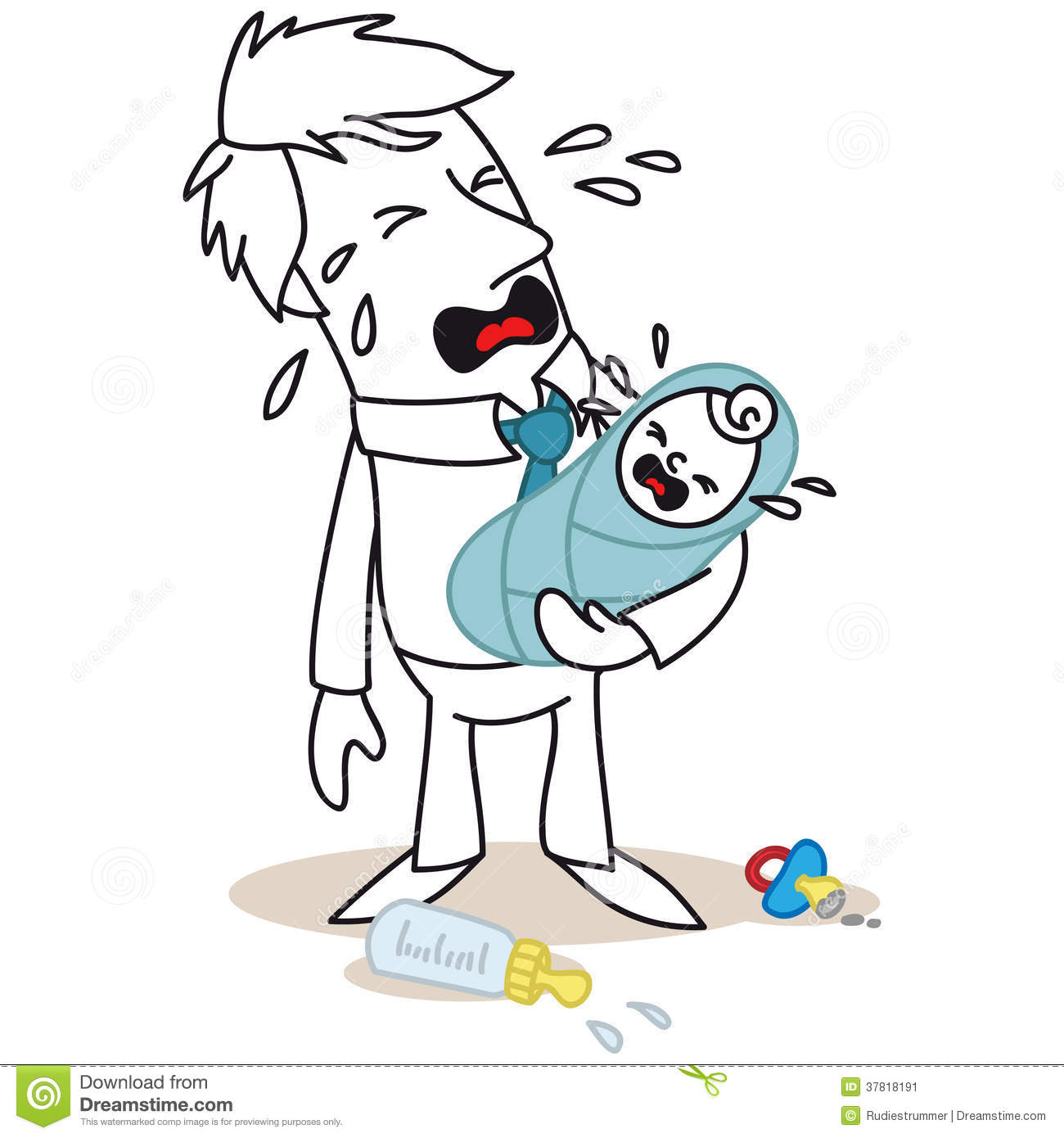 Father And Baby Both Crying Stock Vector
