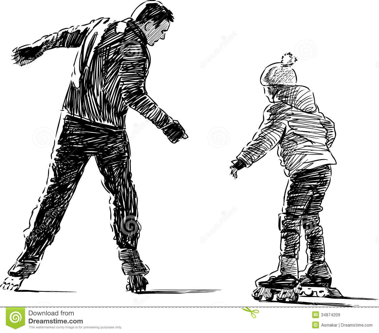 Father And Daughter On Roller Skates Stock Vector