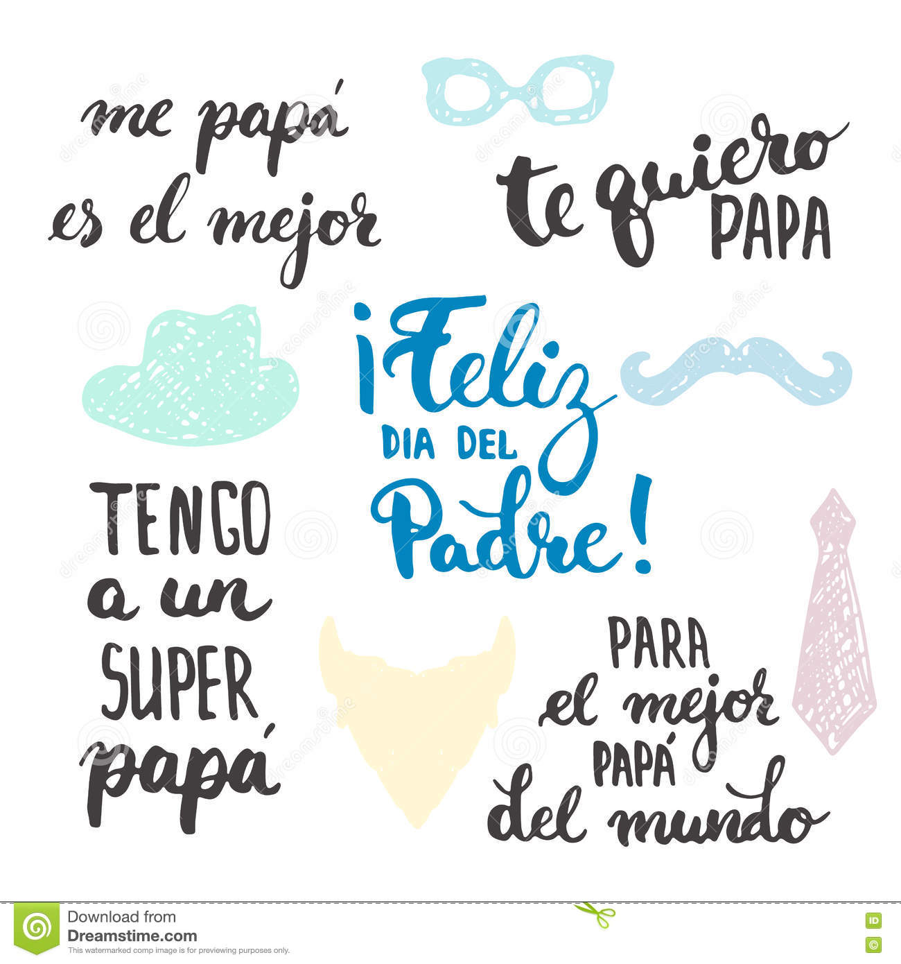 hight resolution of father s day lettering calligraphy phrases set in spanish feliz dia del padre tengo a