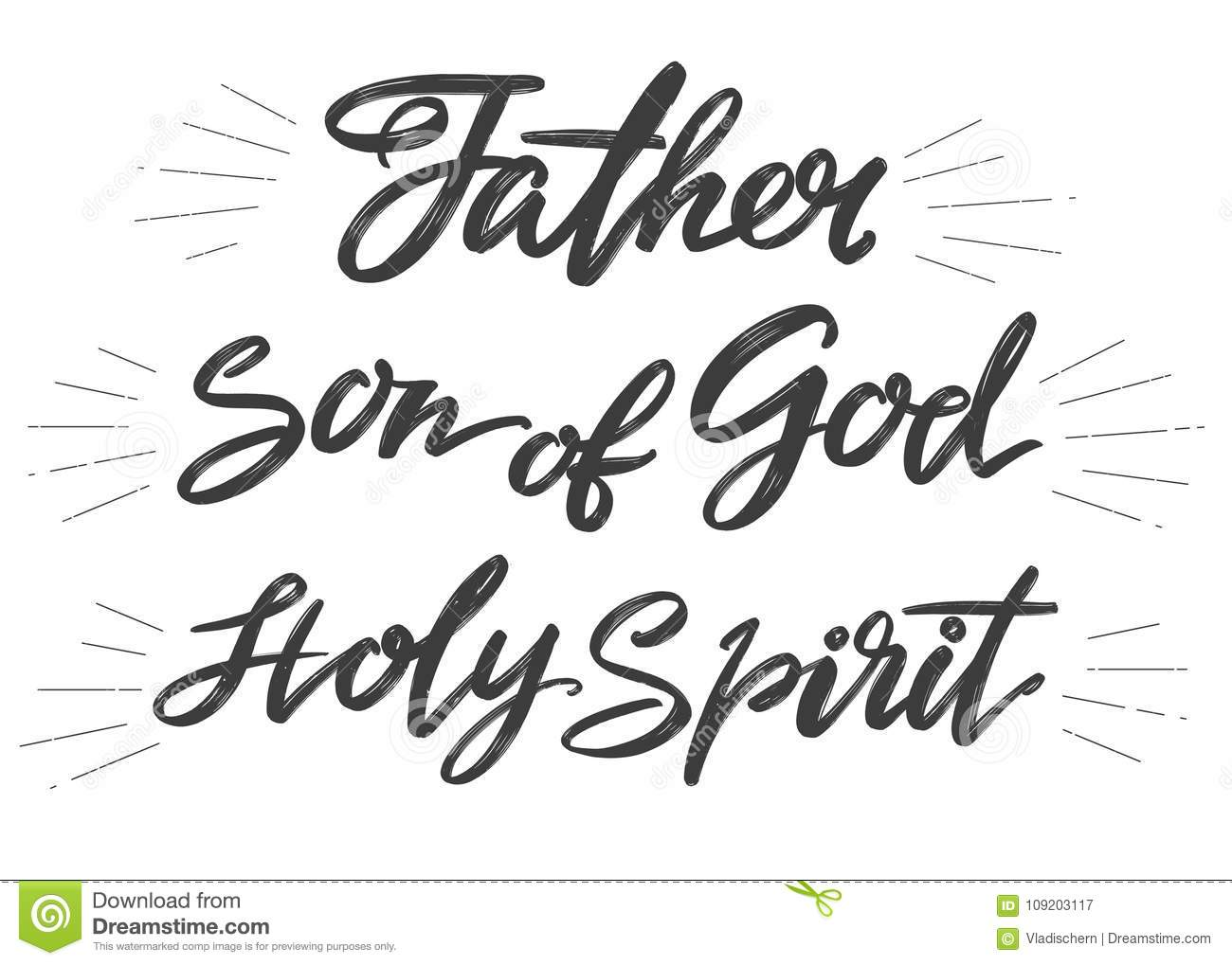 Father Son Of God Holy Spirit Holy Trinity Calligraphy