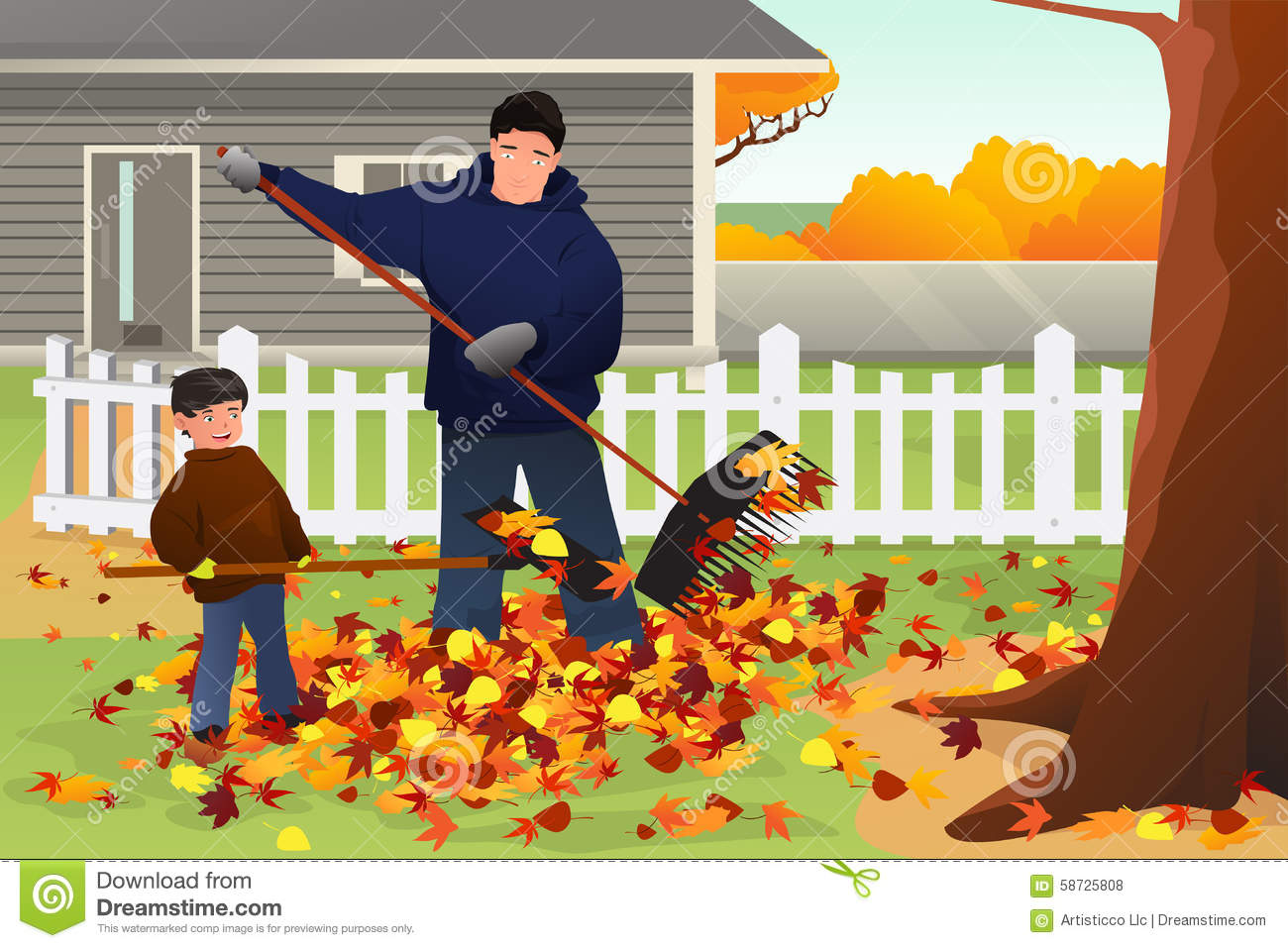 hight resolution of father and son raking leaves in the yard during fall season