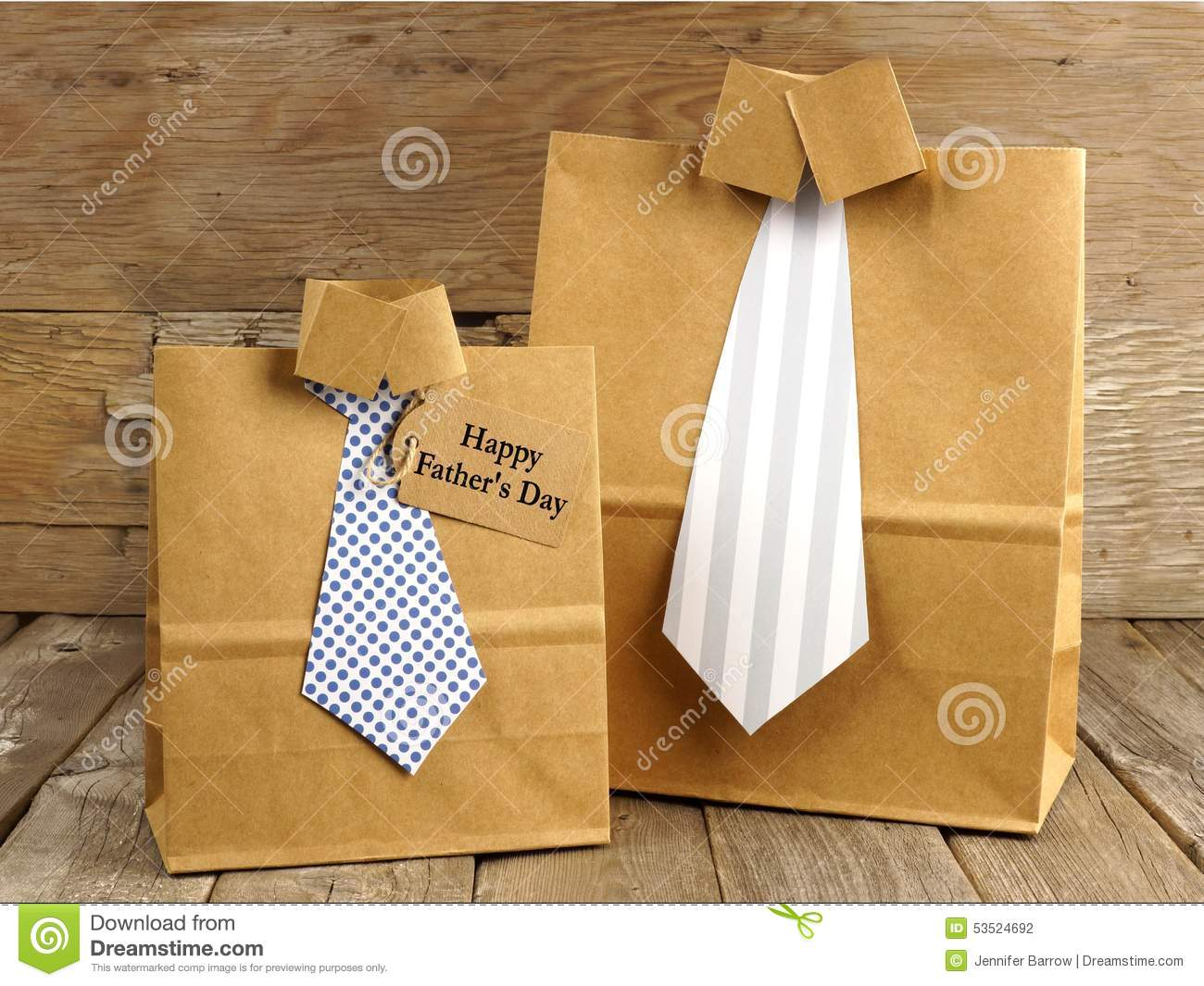 Fathers Day Shirt And Tie Gift Bags On A Wood Stock Photo