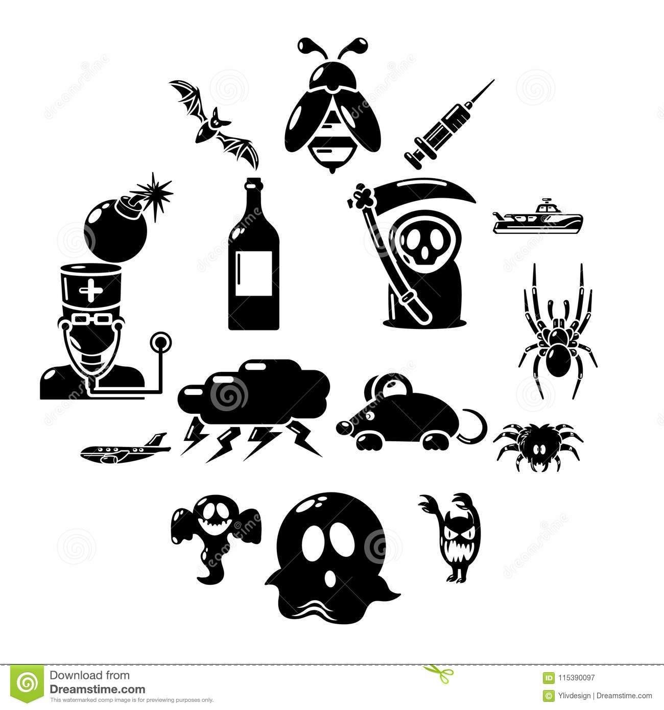 Fears Phobias Icons Set Simple Style Stock Vector