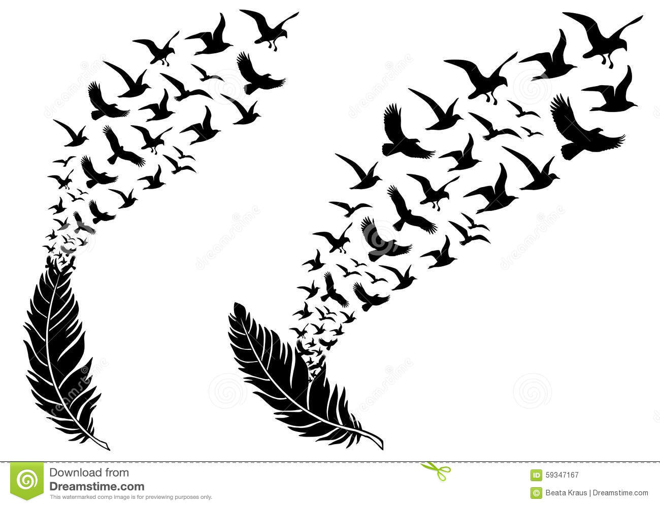 Feathers With Flying Birds Vector Stock Vector