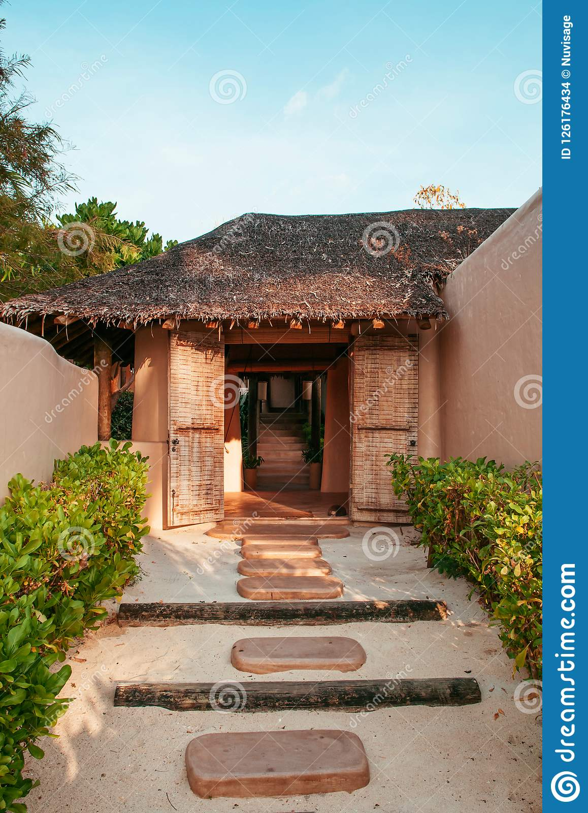 Vacation Tropical Resort In Garden With Clay House Design