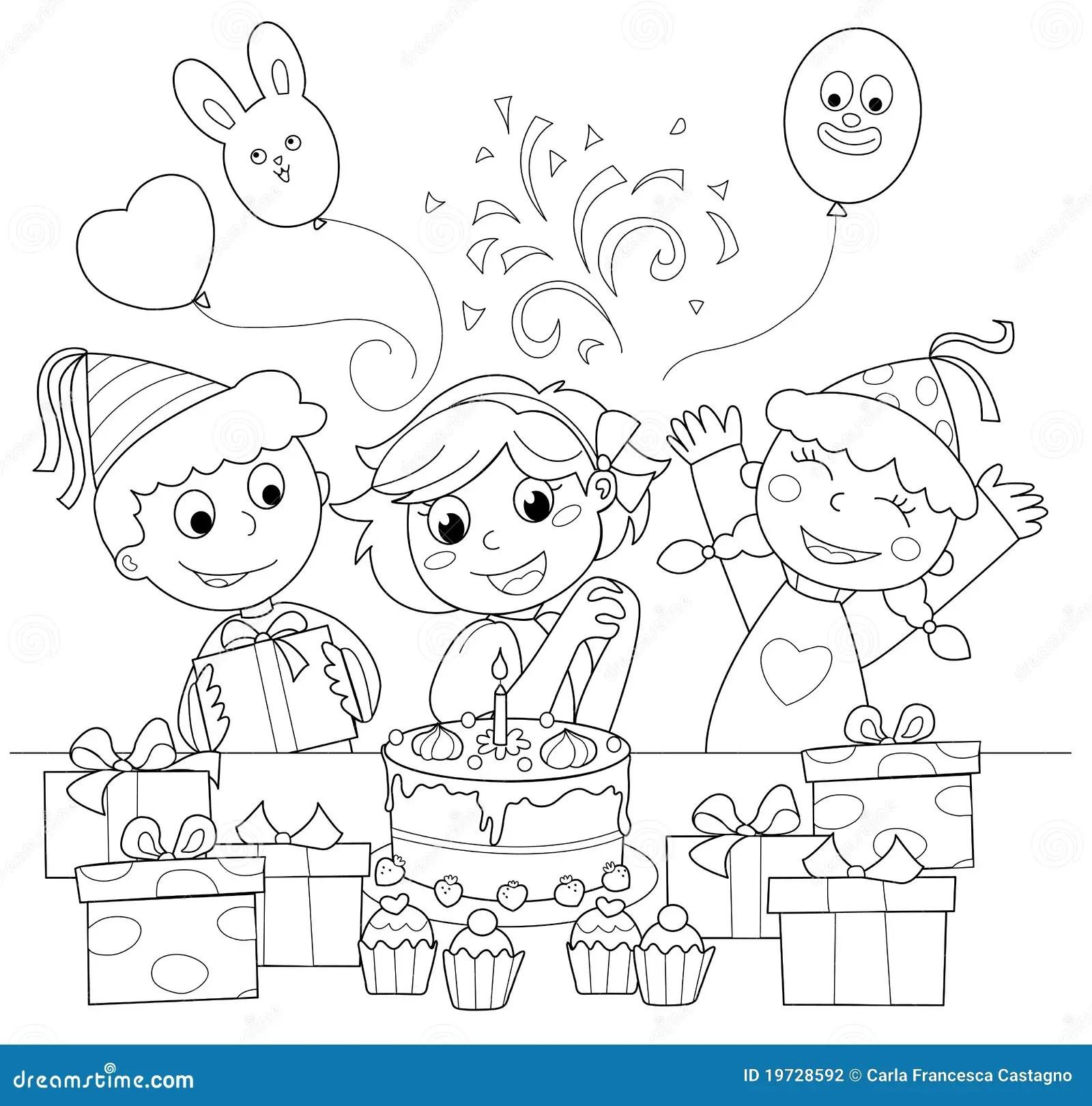 Feliz Aniversario Ilustracao De Coloracao Ilustracao Do