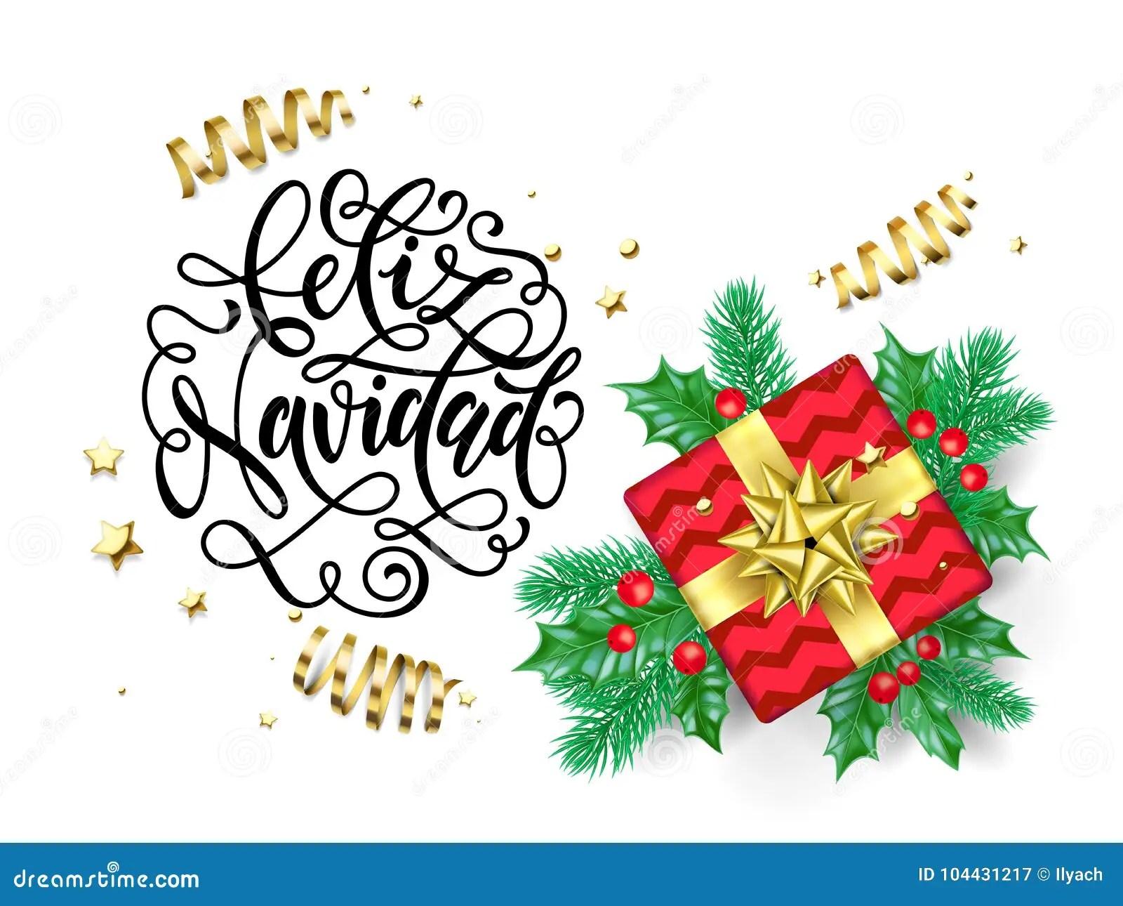Feliz Navidad Spanish Merry Christmas Hand Drawn