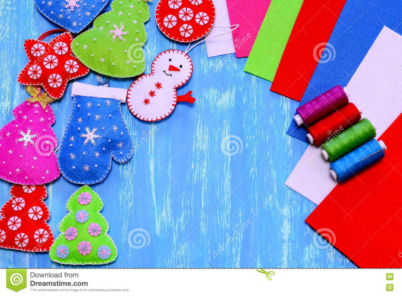 Felt Christmas Decorations Christmas Tree Heart Star Ball Mitten Snowman Diy Sewing Kit Colorful Felt Sheets Stock Photo Image Of Decorations Merry 79159758