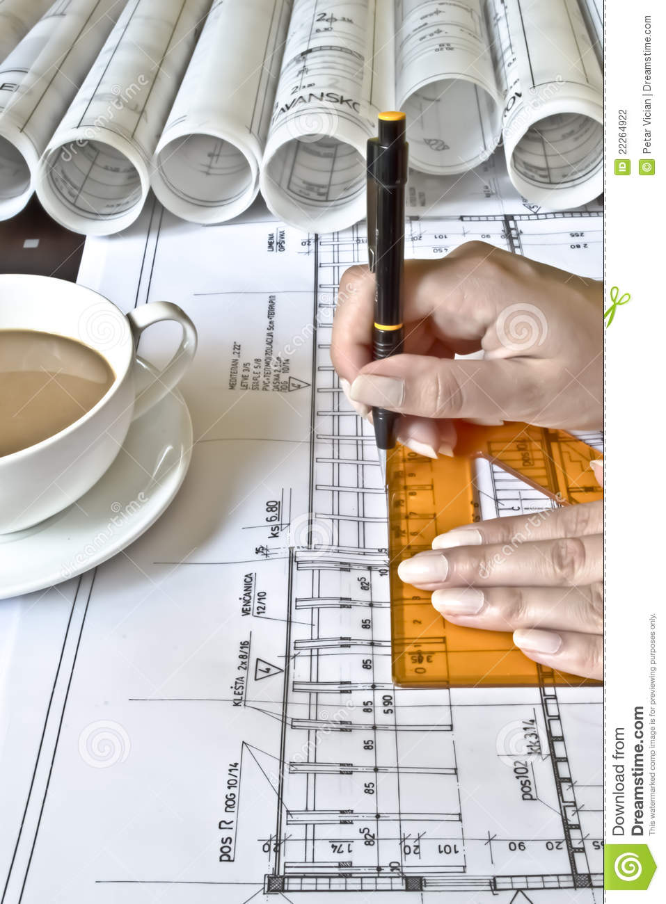 Female Architect At Work Stock Photography Image 22264922