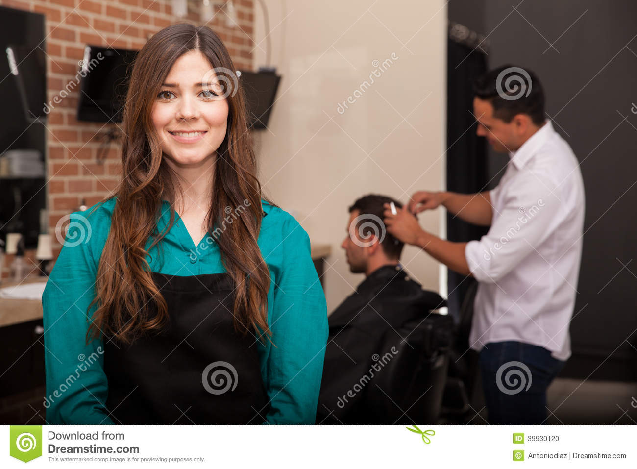 Female barber shop owner stock photo Image of young