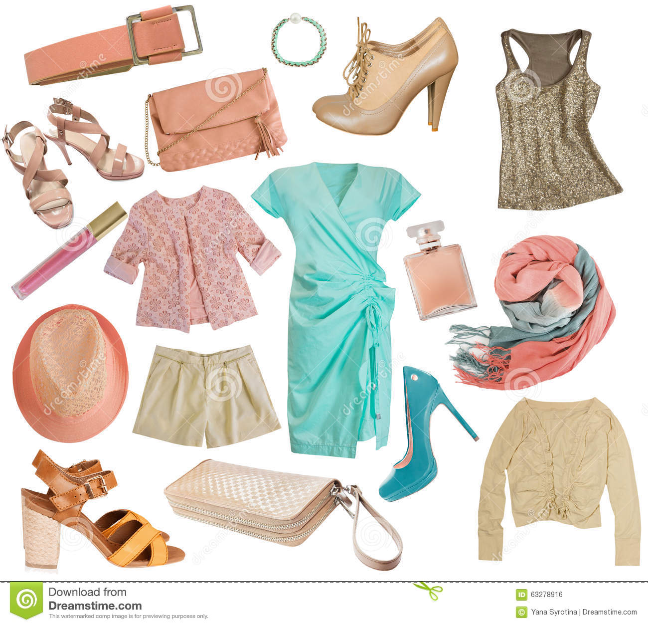 Female Clothes Collage Women Apparel Setolated Stock