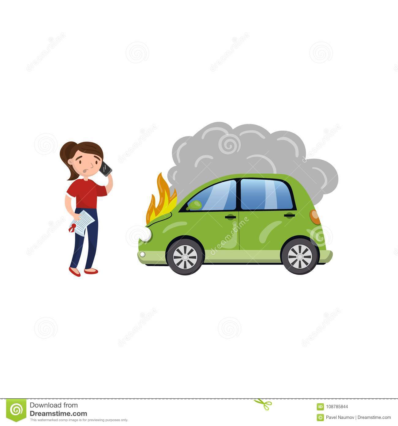 Female Driver Calling For Help After Car Accident Burning Car Car Insurance Cartoon Vector Illustration Stock Vector Illustration Of Automobile People 108785844