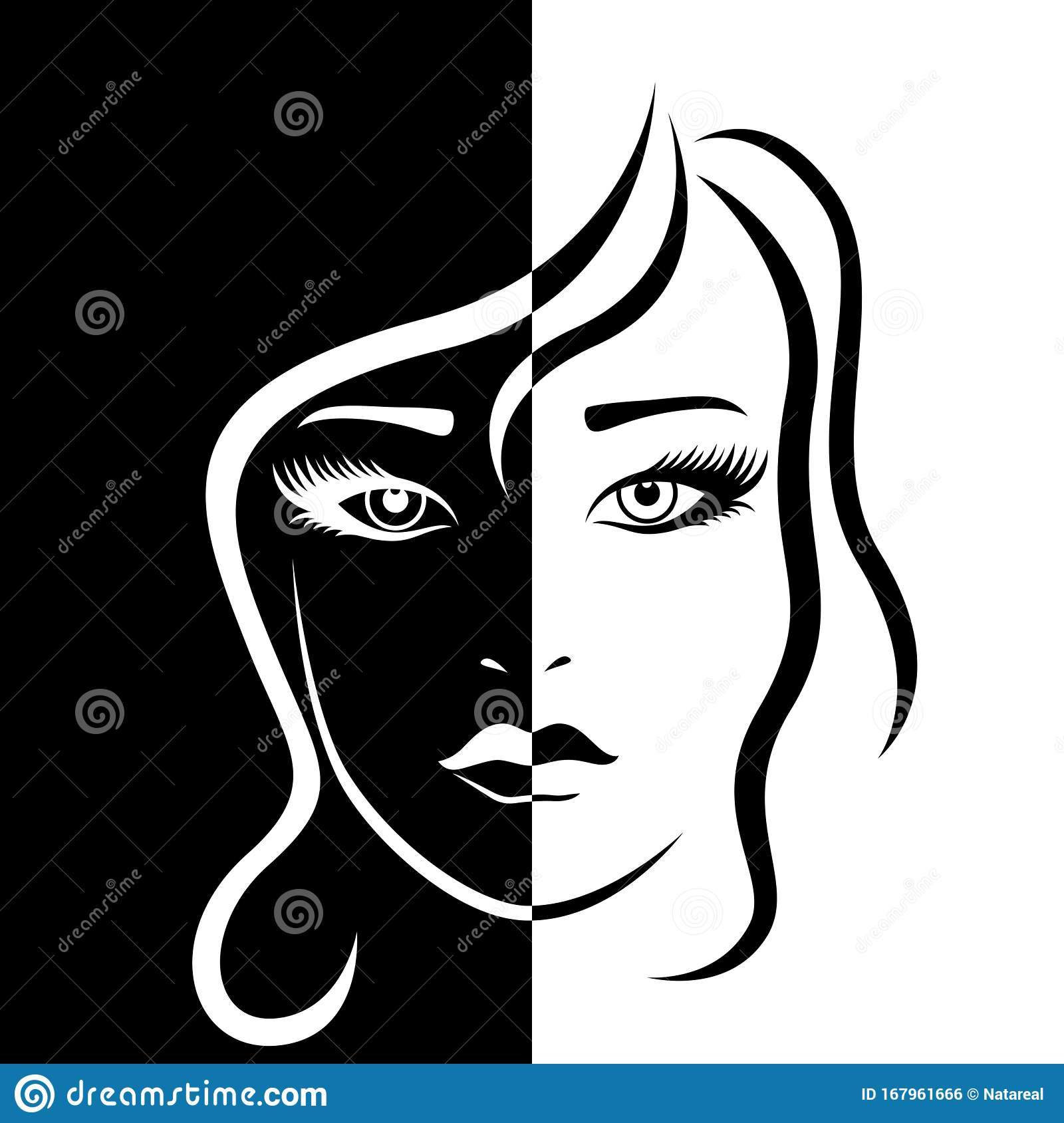 Female Face In Negative Positive Stock Vector