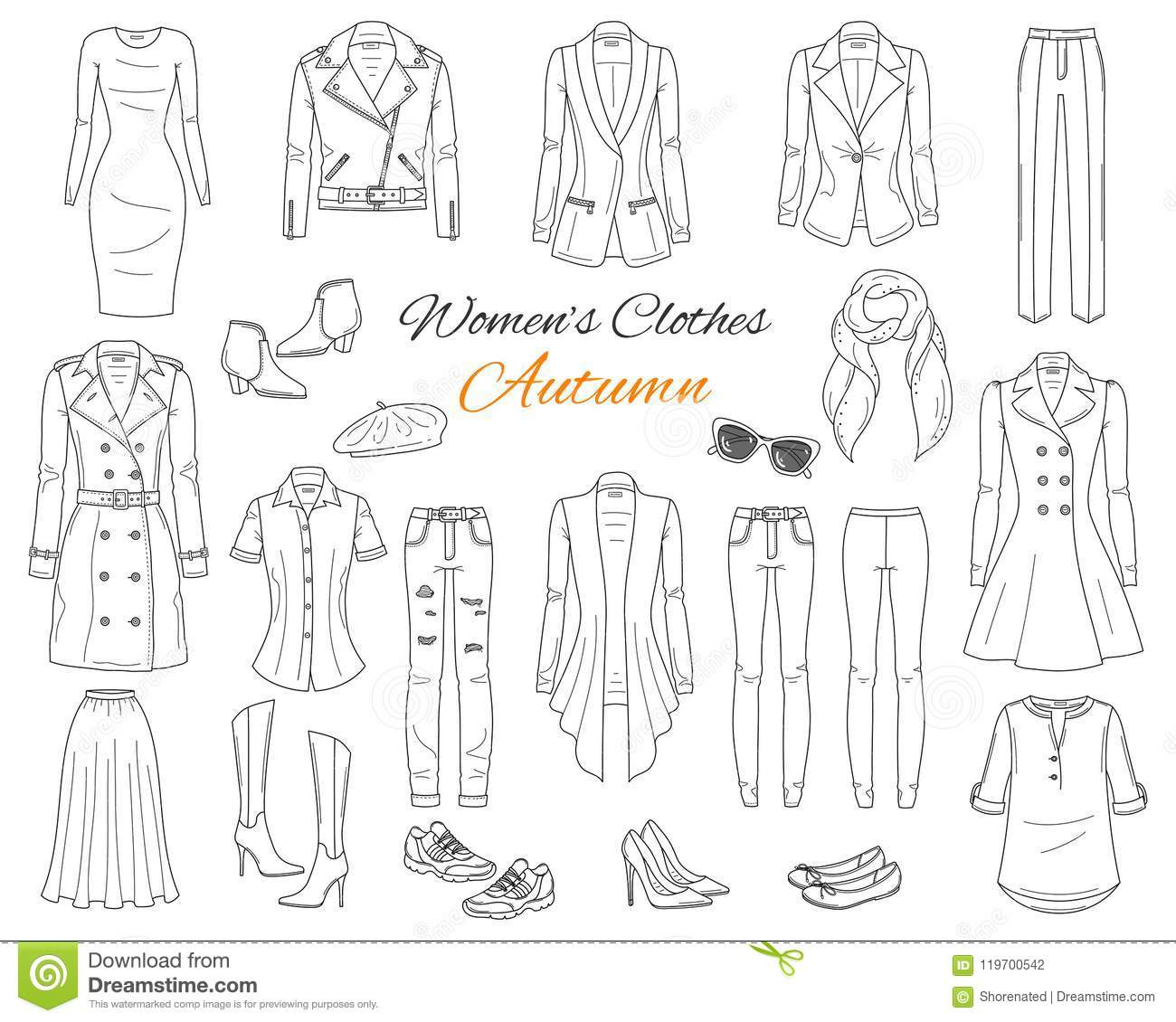 Women S Clothes Collection Vector Sketch Illustration