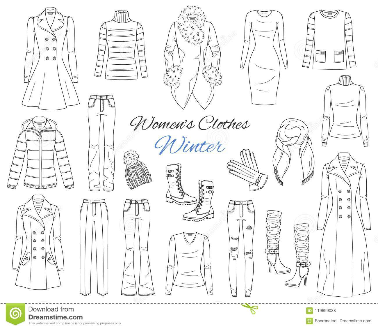 Women S Clothes Collection. Winter Outfit. Vector Sketch