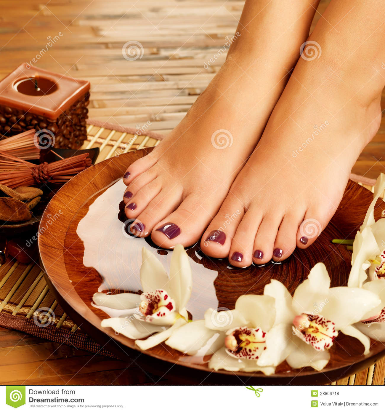 Pedicure Chair Female Feet At Spa Salon On Pedicure Procedure Royalty