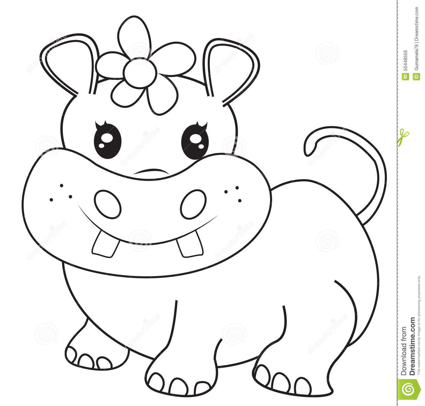 Female hippopotamus coloring page useful as coloring book for kids